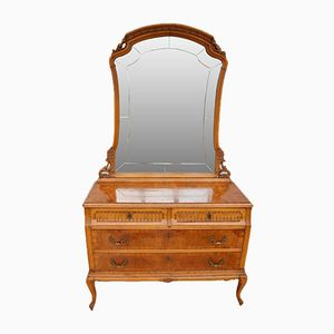 French Art Deco Figured Walnut Four Drawer Dressing Table, 1930s