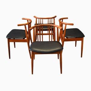 Sedie da pranzo in teak di H.P. Hansen Randers, set di 4