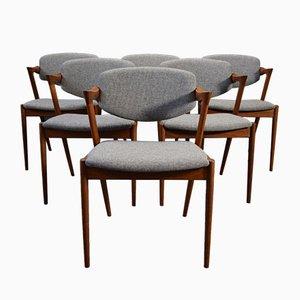 Mid-Century Modell 32 Esszimmerstühle von Kai Kristiansen für Schou Andersen, 6er Set