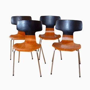 Danish 3103 Hammer Chairs by Arne Jacobsen for Fritz Hansen, 1970s, Set of 4