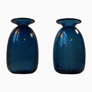 Blaue Dänische Capri Glasvasen von Jacob E. Bang für Holmegaard, 1960er, 2er Set