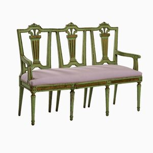 Carved, Painted, & Gilt Gustavian Sofa Bench, 1790s