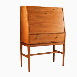 Mid-Century Scandinavian Teak & Brass Bar Cabinet