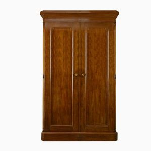 Large Antique Victorian Figured Mahogany Double Wardrobe