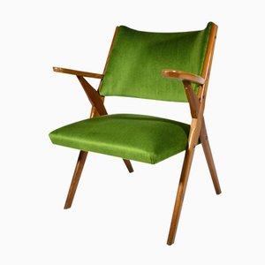 Italian Walnut Armchair, 1950s