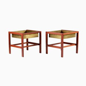 Mid-Century Teak & Brass Flower Tables, Set of 2