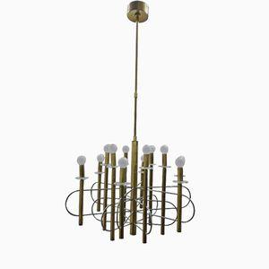 Vintage Brass & Steel Chandelier by Gaetano Sciolari