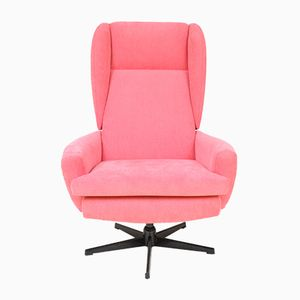 Czech Pink Swivel Chair, 1970s