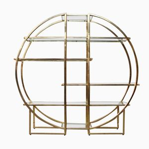 Mid-Century Circular Brass Etagere with Glass Display Shelves