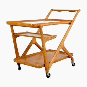 Light Walnut Tea Trolley by Cesare Lacca for Cassina, 1950s
