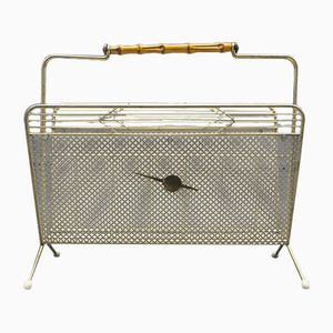 French Bamboo & Brass Magazin Rack from Cavalier, 1950s