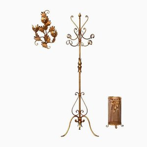 Mid-Century French Coat Stand, Umbrella Rack, & Wall Sculpture