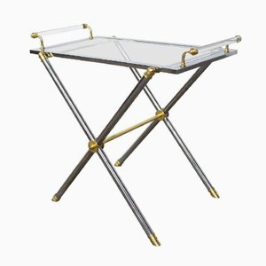 Vintage Brass & Glass Serving Tray Table from Maison Jansen