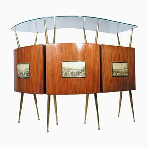 Italian Rosewood & Brass Bar, 1950s