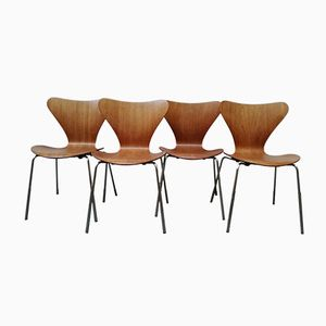 Series 7 Teak Chairs by Arne Jacobsen for Fritz Hansen, 1967, Set of 4