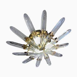 Italienische Kristall Deckenlampe von Gaetano Sciolari, 1970er