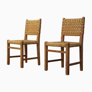 Eichenholz Stühle mit Geflochtenen Sitzen von Audoux et Minet für Vibo Vesoul, 1950er, 2er Set