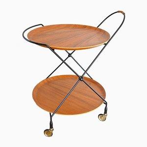 Mid-Century Scandinavian Folding Teak Serving Cart