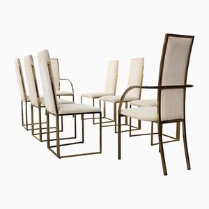 Brass Frame Dining Chairs by Romeo Rega, 1970s, Set of 8