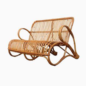 Rattan Two-Seater Bench by Dirk Van Sliedrecht for Rohé Noordwolde, 1950s