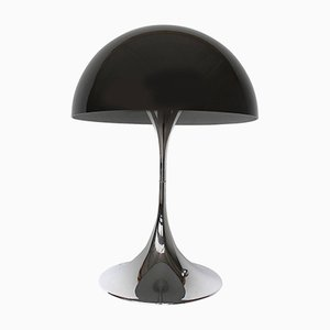 Mid-Century Chromed Base & Black Shade Panthella Lamp by Verner Panton for Louis Poulsen