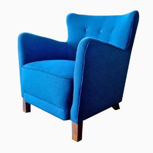 Dänischer Blauer Sessel mit Wollbezug von Fritz Hansen, 1940er
