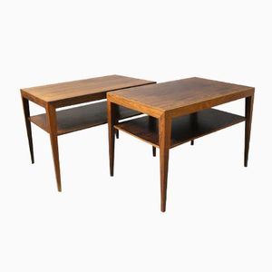 Rosewood Side Tables with Shelf by Severin Hansen for Haslev, 1960s, Set of 2