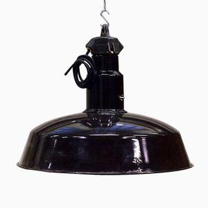 Large Industrial Black Enameled Bauhaus Style Lamp, 1940s
