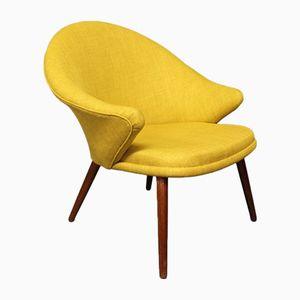 Teak Armlehnstuhl mit Gelben Bezug von Nanna Ditzel, 1960er
