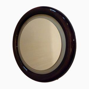 Vintage Round Backlit Beech Mirror