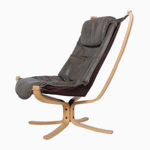 Mid-Century Leather Falcon Chair by Sigurd Ressel for Vatne Mobler