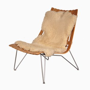 Wooden Easy Chair with Sheepskin by Hans Brattrud for Scandia, 1950s