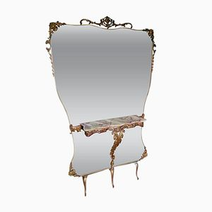 Large Italian Hall Mirror with Onyx Console, 1950s