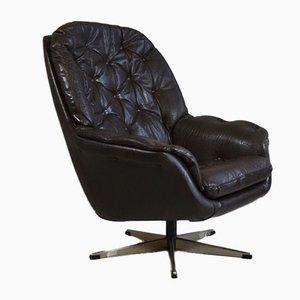 Black Danish Leather Swivel Lounge Chair, 1970s
