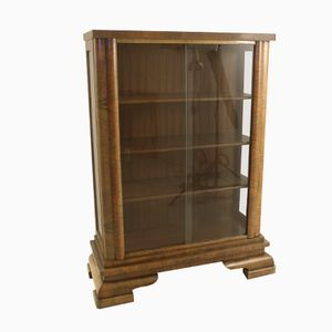 Vintage Art Deco Walnut Display Cabinet