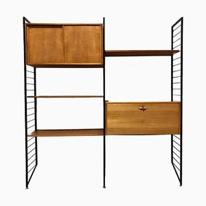 Adjustable Teak Ladderax Wall Shelving Unit System from Staples, 1960s