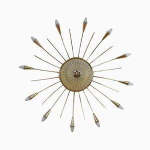 Italienische Mid-Century Messing Sputnik Sonnen Deckenlampe, 1950er