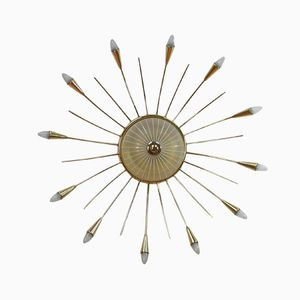 Mid-Century Italian Brass Sputnik Sunburst Ceiling Light, 1950s