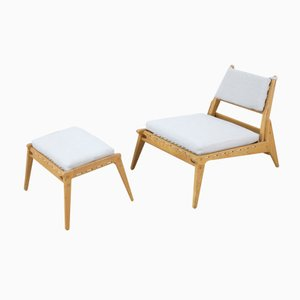Mid-Century Hunting Group Lounge Chair and Ottoman