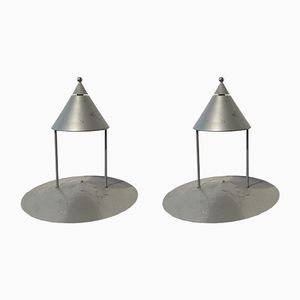 Grey Metal Table Lamps, 1980s, Set of 2