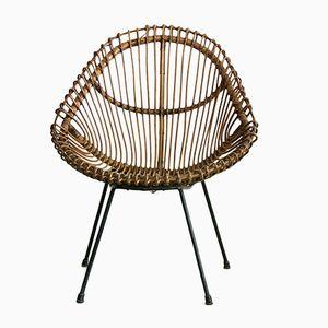 Italienischer Vintage Korbgeflecht & Eisen Stuhl