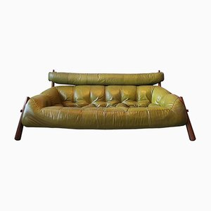 Brazilian Three-Seater Rosewood & Leather Sofa from Percival Lafer, 1974