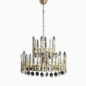 Vintage Italian Chromed Brass and Glass Chandelier, 1960s