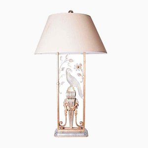 Gilted Metal & Crystal Parrot Table Lamp, 1940s