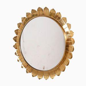 Brass Sunburst Frame Mirror, 1950s