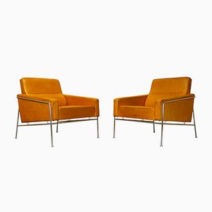 Vintage Modell 3300 Hellbraunes Leder Sessel von Arne Jacobsen für Fritz Hansen, 2er Set