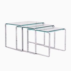 Chrome and Clear Glass Nesting Tables, 1970s