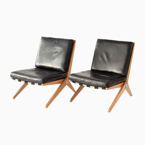 Scheren Stühle von Pierre Jeanneret für Knoll International, 1952, 2er Set