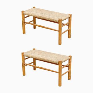 French Wooden Benches, 1950s, Set of 2