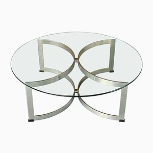 Model 341C Chromed Steel & Glass Circular Coffee Table by Richard Young for Merrow Associates, 1970s